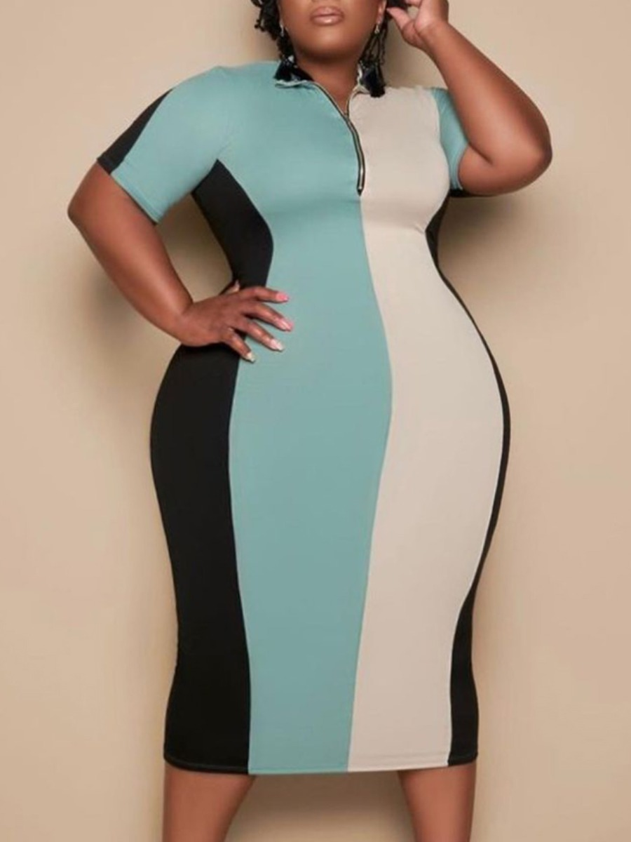 Lovely Plus Size Street Striped Patchwork Baby Blue Knee Length Dress